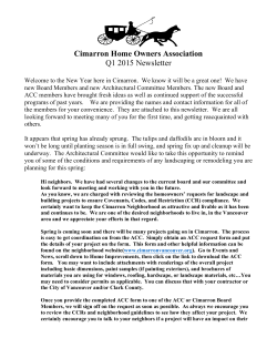 2015 Spring Newsletter - Cimarron Homeowner`s Association