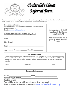 Boutique Referral Form - Cinderella`s Closet of Monmouth County