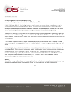 FOR IMMEDIATE RELEASE CIS Appoints Guy Merritt as Chief