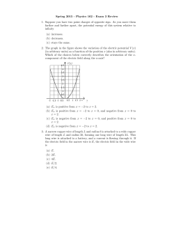 Spring 2015 - Physics 162 - Exam 3 Review 1. Suppose you have
