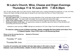 St Luke`s Church, Wine, Cheese and Organ Evenings Thursdays 11