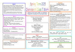 Spring Term Overview - Cleddau Reach VC Primary School