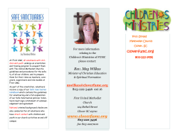 Children Ministry Brochure - First United Methodist Church of Clover