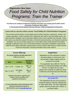 Food Safety for Child Nutrition Programs: Train the Trainer