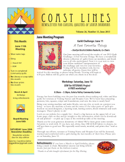 June 2015 Coast Lines - Coastal Quilters Guild