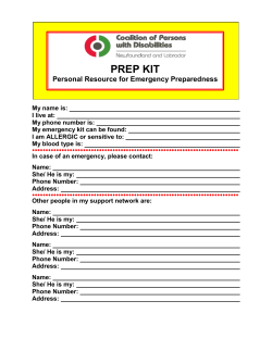 Personal Resource for Emergency Preparedness – PREP Kit