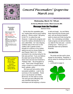 March 2015 Newsletter - Concord Piecemakers Quilt Guild