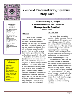 May Newsletter - Concord Piecemakers Quilt Guild