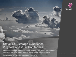 Statoil CO storage experience: 20 years and 20 million tonnes