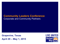 Community Leaders Conference - United Way Conferences Site