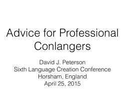 Advice for Professional Conlangers