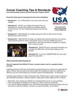 Corner Coaching Tips & Standards by USA Wrestling