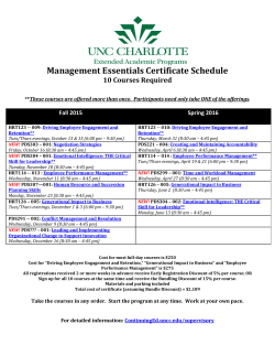 Management Essentials Certificate Schedule