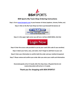 BSN Sports My Team Shop Ordering Instructions