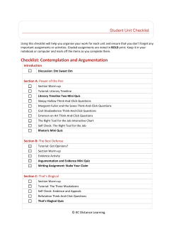 Checklist: Contemplation and Argumentation