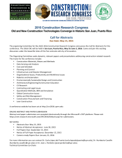 2016 Construction Research Congress Call for Abstracts