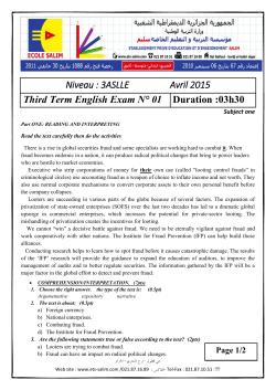Niveau : 3ASLLE Avril 2015 Third Term English Exam N° 01 Duration