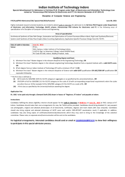 Special Advertisment for Admission to Full-time