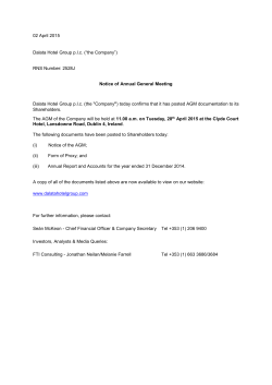 Notice of Annual General Meeting - April 2015