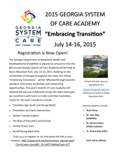 2015 GEORGIA SYSTEM OF CARE ACADEMY