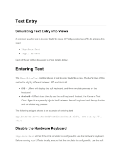 Text Entry Entering Text