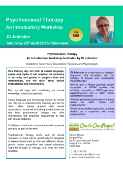 Psychosexual Therapy, An Introductory Workshop