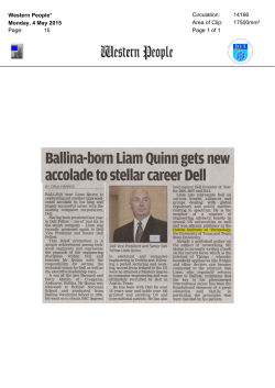 Ballina-born Liam Quinn gets new accolade to stellar career Dell