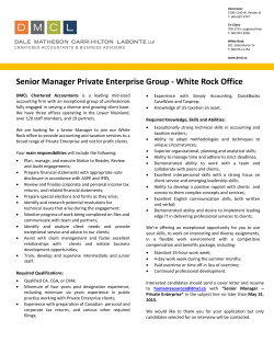 Senior Manager Private Enterprise Group