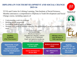 (diploma in youth development and social change) 2015-16