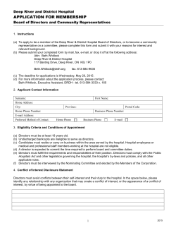 APPLICATION FOR MEMBERSHIP - Deep River District Hospital