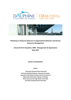 Workshop on Research Advances in Organizational Behavior and