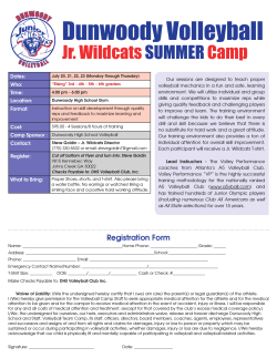 lick here for the 2015 Summer Junior Wildcat Registration Form