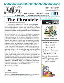 The Chronicle - EASTHAMPTON COMMUNITY CENTER