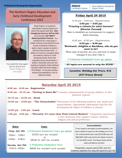 Saturday April 25 2015 - Early Childhood Development Support