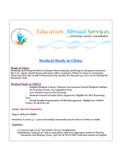 Medical Study in China - Education Abroad Services