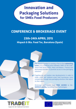 Innovation and Packaging Solutions for SMEs Food Producers