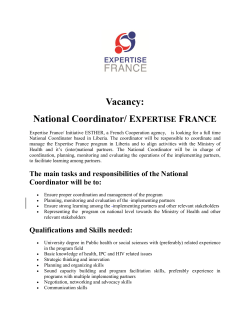 Vacancy: National Coordinator/ EXPERTISE FRANCE