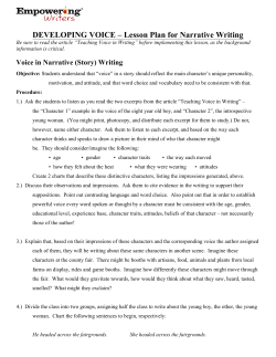 DEVELOPING VOICE – Lesson Plan for Narrative Writing