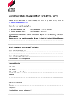 Exchange student application form 2015-2016