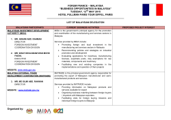 "FORUM FRANCE – MALAYSIA ""BUSINESS OPPORTUNITIES IN"