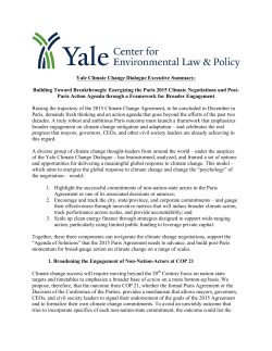 Yale Climate Change Dialogue Executive Summary