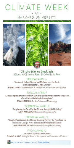 Climate Science Breakfasts - Harvard University Center for the