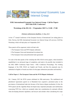 ESIL International Economic Law Interest Group