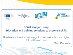 E-Skills for jobs 2015 Education and training solutions to acquire e