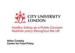 Healthy Eating as a Public Concern: Nutrition policy