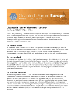 Cleantech Tour of Florence/Tuscany
