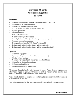 Kindergarten Everglades K-8 Center Kindergarten Supply List 2015