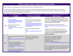 Uniform Guidance Agency Implementation Cheat Sheet