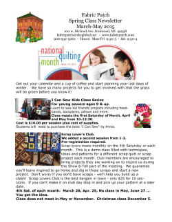 Fabric Patch Spring Class Newsletter March