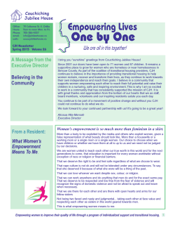 Couchiching Jubilee House Spring 2015 Newsletter